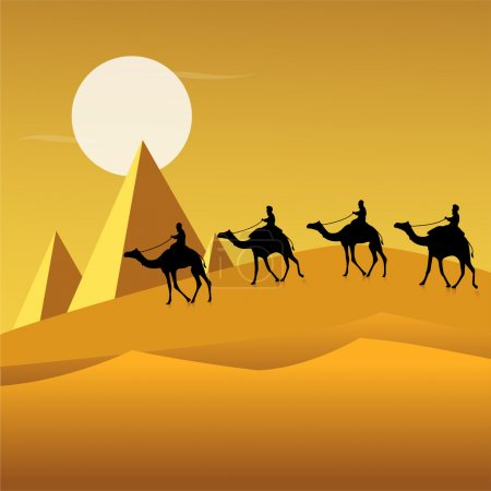 Tourists on camels in desert