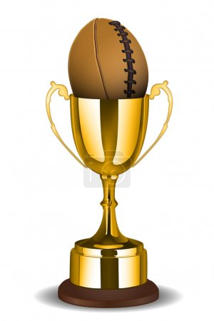 Trophy cup with rugby ball