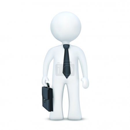 Photo for Illustration of 3d character with suitcase and wearing tie standing on an isolated white background - Royalty Free Image