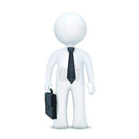 Photo pour Illustration du personnage 3d avec valise et portant cravate debout sur un fond blanc isolé - image libre de droit