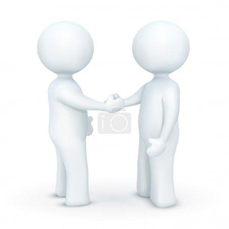 Photo pour Illustration d'une poignée de main de personnage 3d sur un fond blanc isolé - image libre de droit