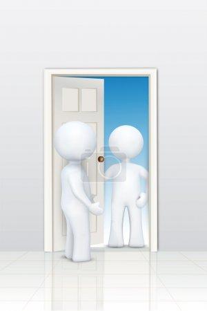 3d characters welcoming at door