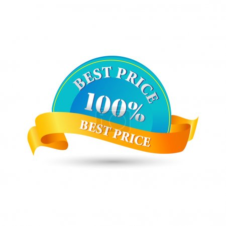 Photo for Illustration of 100% best price tag on white background - Royalty Free Image