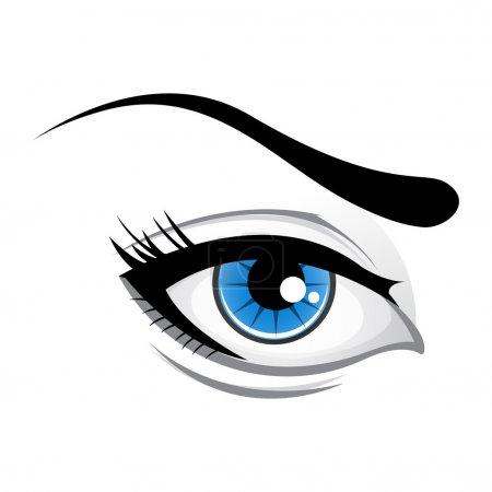 Illustration pour Illustration de dame oeil sur fond blanc - image libre de droit
