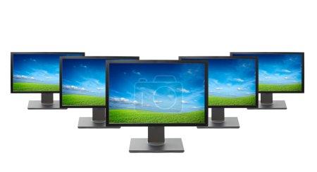Photo pour Moniteurs d'ordinateur isolés sur fond blanc - image libre de droit