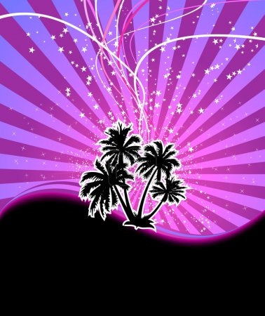Discotheque night palm banner