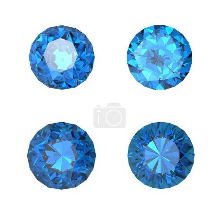 Round swiss blue topaz