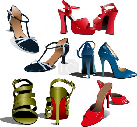 Five pairs of Fashion woman shoes.