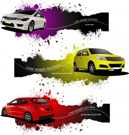 Illustration for Three grunge Banners with cars. Vector illustration - Royalty Free Image