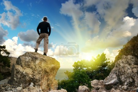 Photo for Man on top of mountain. Conceptual design. - Royalty Free Image