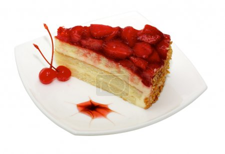 Photo for Cake with strawberry topping - Royalty Free Image