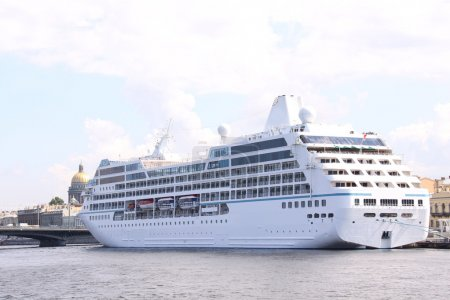 Luxury white cruise ship shot at angle a