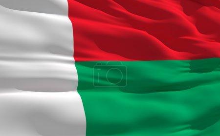 Развевающийся флаг Мадагаскара