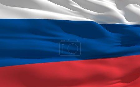 Photo pour Drapeau flottant de la Russie sur le vent - image libre de droit