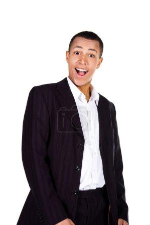 Photo pour Jeune homme d'affaires prospère avec une serviette sur un fond blanc - image libre de droit