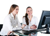 Two businesswoman working in team