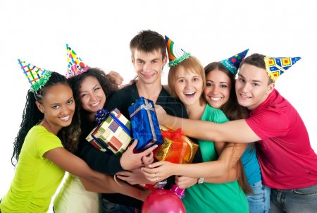 Photo for Group of teenagers celebrate birthday. Isolated - Royalty Free Image