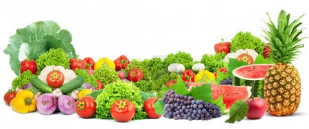 Photo for Colorful healthy fresh fruits and vegetables. Shot in a studio - Royalty Free Image