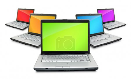 Photo pour Ouvrir les ordinateurs portables montrant le clavier et l'écran isolé sur fond blanc - image libre de droit