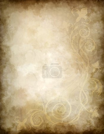 Photo for Grunge decorative background with floral old design - Royalty Free Image