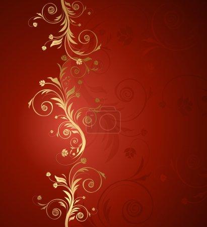 Illustration pour Fond floral vectoriel rouge et doré pour texte avec motif - image libre de droit