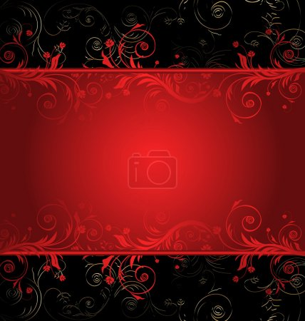 Illustration for Vector black and red floral background for text with pattern - Royalty Free Image