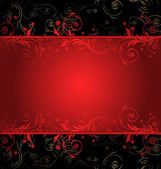Vector black and red floral background for text with pattern