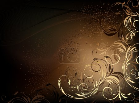 Illustration for Vector black and gold floral background with pattern - Royalty Free Image