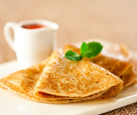Photo for Tasty pancakes with sauce, breakfast - Royalty Free Image