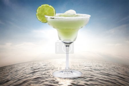 Margaritas with lime on water