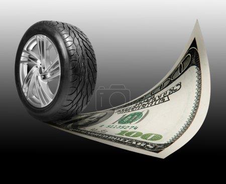 Wheel with steel rim. money, 100 american dollars