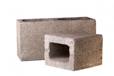 Photo for Bricks made of concrete for building of houses and fences. - Royalty Free Image