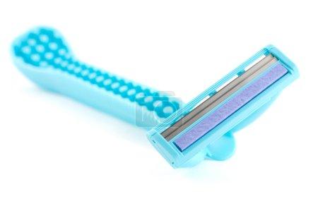 Blue razor isolated on white