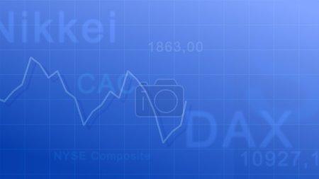 Photo pour Contexte abstrait - abréviation des indices boursiers et diagramme des taux de change . - image libre de droit