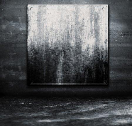 Metal plate on wall