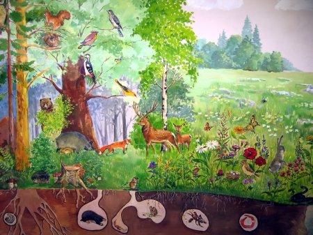 Photo pour Tableau peint avec divers animaux vivants de la forêt - image libre de droit