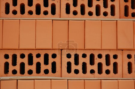 Photo for Red brick. Material for construction. - Royalty Free Image