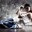 Young woman dancer. Contrast colors....