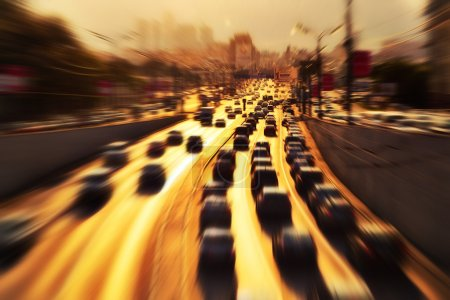 Photo for Highway with lots of cars. Zoom blur effect. - Royalty Free Image