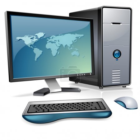 Illustration for Realistic Desktop computer with world map on the display - Royalty Free Image