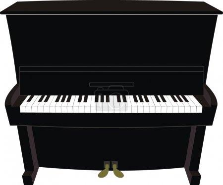 Illustration pour Vector illustration isolé de piano noir dessin animé ? ancienne, classique, moderne - image libre de droit