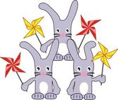 Three rabbits (hares) with spinners