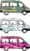 Camouflage mini-bus: Glamour Pink Winter Snow Classical Forest – vector isolated illustration
