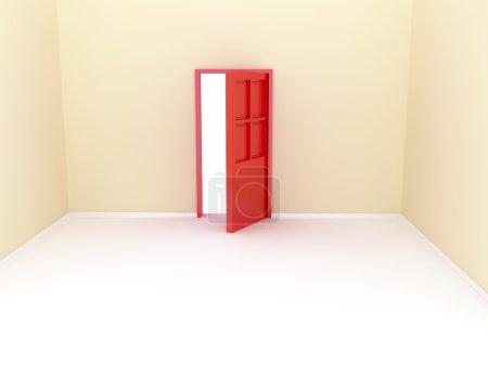 Room with door. 3D rendering