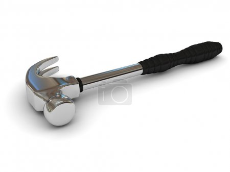Photo for Iron hammer over white background. 3d rendered image - Royalty Free Image