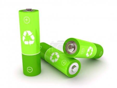 Photo pour Batterie verte sur fond blanc. Image rendue 3d - image libre de droit