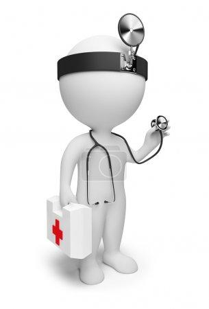 Foto de 3D pequeño el médico con los primeros auxilios y un estetoscopio situado en las manos. imagen 3D. fondo blanco aislado - Imagen libre de derechos
