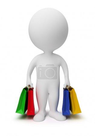 Photo pour 3D transport petits sacs à provisions. image 3D. fond blanc isolé. - image libre de droit