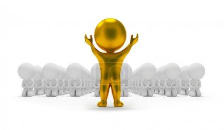 Photo pour 3d petite adoration à une idole d'or. Image 3D. Fond blanc isolé . - image libre de droit