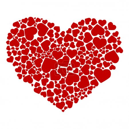 Illustration for Abstract drawing of red hearts. Vector illustration - Royalty Free Image